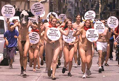 ... themes of the past: PETA, naked protestors, and international culture.